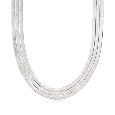 Italian Sterling Silver Layered Herringbone Necklace