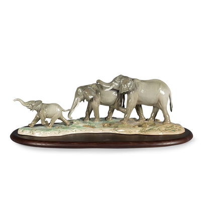 Lladro Porcelain Elephant Figurine: We Follow in Your Footsteps, , default