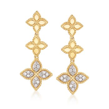 """Roberto Coin """"Princess"""" .37 ct. t.w. Diamond Flower Drop Earrings in 18kt Two-Tone Gold, , default"""