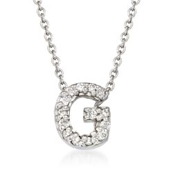 "Roberto Coin ""Tiny Treasures"" Diamond Accent Initial ""G"" Necklace in 18kt White Gold. 16"", , default"