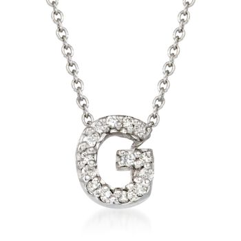 """Roberto Coin """"Tiny Treasures"""" Diamond Accent Initial """"G"""" Necklace in 18kt White Gold. 16"""", , default"""