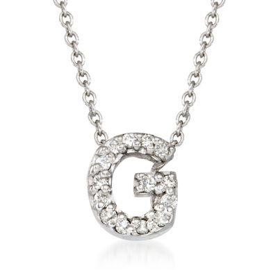 "Roberto Coin ""Tiny Treasures"" Diamond Accent Initial ""G"" Necklace in 18kt White Gold, , default"