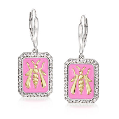 .70 ct. t.w. White Topaz and Pink Enamel Bee Drop Earrings in Sterling Silver and 18kt Gold Over Sterling, , default