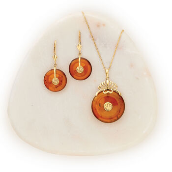 "3mm Amber ""Lucky Fortune"" Chinese Symbol Drop Earrings in 14kt Yellow Gold, , default"