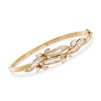 C. 1980 Vintage 2.75 ct. t.w. Baguette and Marquise Diamond Bangle Bracelet in 18kt Yellow Gold, , default
