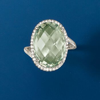 13.00 Carat Green Amethyst and .30 ct. t.w. White Zircon Ring in Sterling Silver, , default
