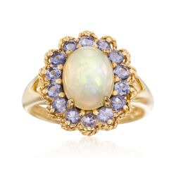 Opal and .70 ct. t.w. Iolite Ring in 18kt Gold Over Sterling, , default