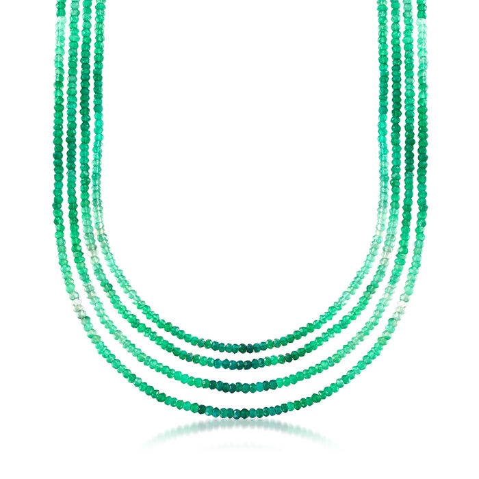 Green Chalcedony Multi-Row Necklace in 18kt Gold Over Sterling, , default