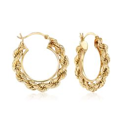 """14kt Yellow Gold Rope Hoop Earrings. 1"""", , default"""