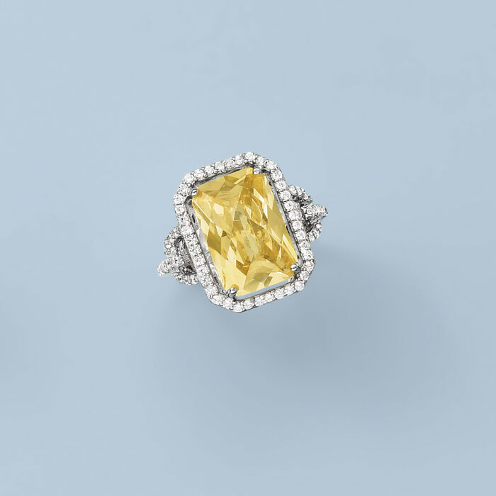 5.00 Carat Canary Yellow CZ and 1.10 ct. t.w. White CZ Ring in Sterling Silver
