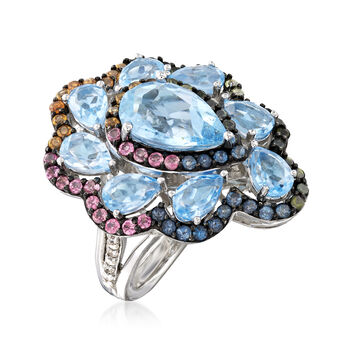 8.90 ct. t.w. Multi-Gemstone and .14 ct. t.w. Diamond Ring in Sterling Silver