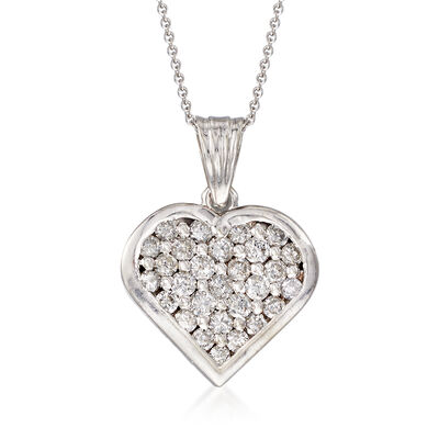 C. 1990 Vintage 1.25 ct. t.w. Diamond Heart Pendant Necklace in 14kt White Gold, , default