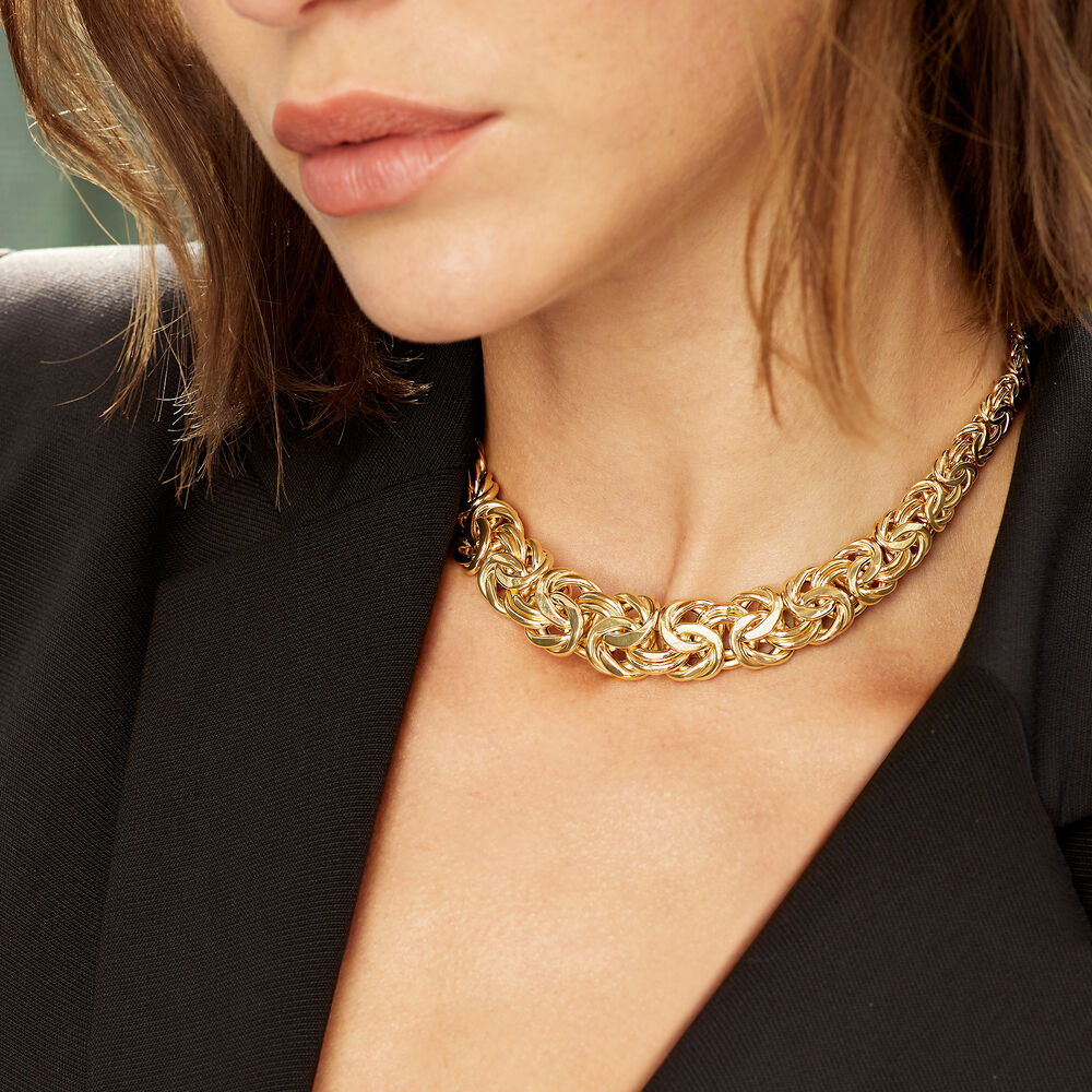 12bb0bddfbcc6 14kt Yellow Gold Graduated Byzantine Necklace | Ross-Simons