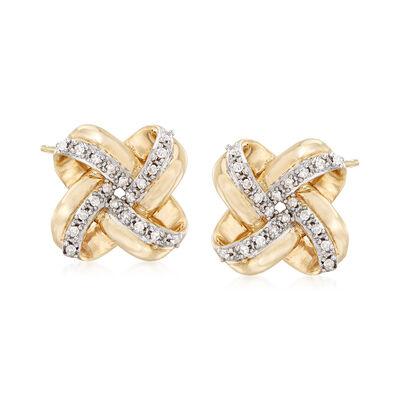 .10 ct. t.w. Diamond Love Knot Stud Earrings in 14kt Yellow Gold, , default