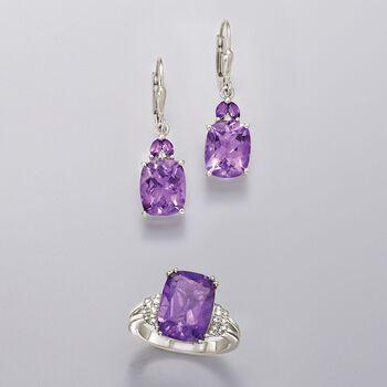 6.95 ct. t.w. Amethyst Drop Earrings in Sterling Silver, , default