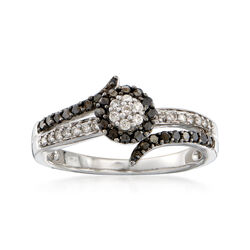 C. 2000 Vintage .45 ct. t.w. Black and White Diamond Ring in 14kt White Gold. Size 7, , default