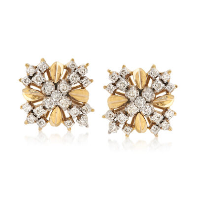 C. 1970 Vintage .90 ct. t.w. Diamond Crisscross Earrings in 14kt Yellow Gold, , default