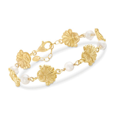 Italian Seashell and Cultured Pearl Bracelet in 18kt Yellow Gold Over Sterling, , default