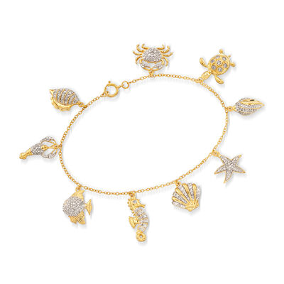 1.00 ct. t.w. Diamond Sea Life Charm Bracelet in 18kt Gold Over Sterling