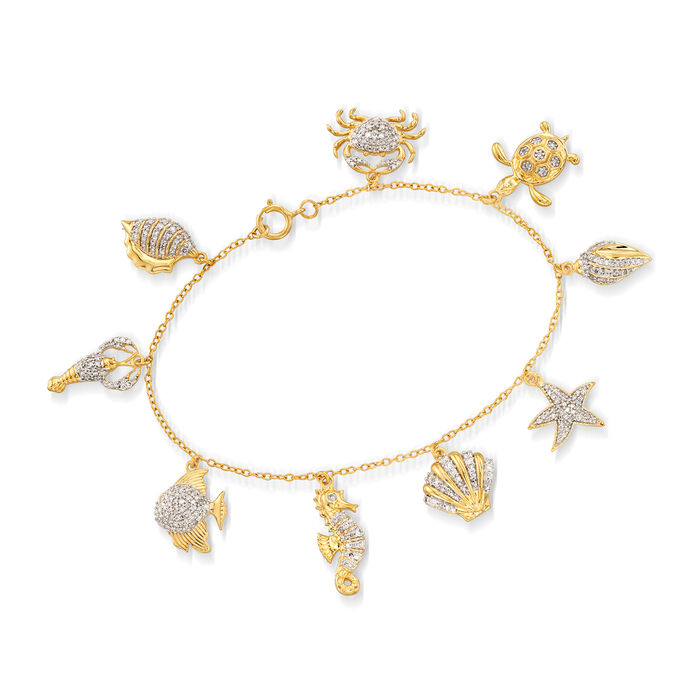 "1.00 ct. t.w. Diamond Sea Life Charm Bracelet in 18kt Gold Over Sterling. 7"", , default"