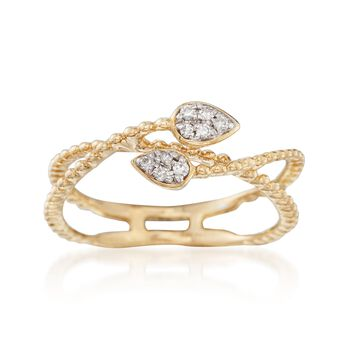 14kt Yellow Gold Double Leaf Bypass Ring With Diamond Accents. Size 7, , default