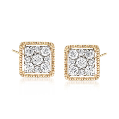 1.00 ct. t.w. Diamond Square Stud Earrings in 14kt Yellow Gold