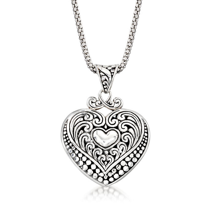 Bali-Style Sterling Silver Heart Pendant Necklace