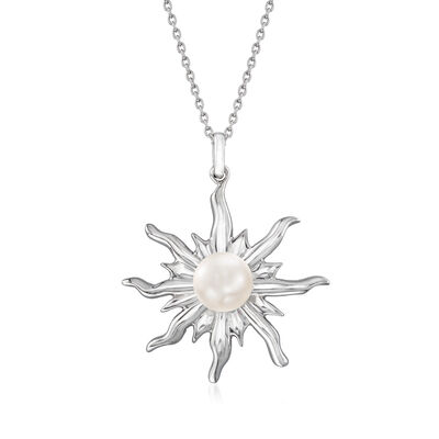 7.5-8mm Cultured Pearl Sun Pendant Necklace in Sterling Silver