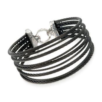 "ALOR ""Noir"" Black Stainless Steel Multi-Cable Bracelet With 18kt Yellow Gold. 7"", , default"