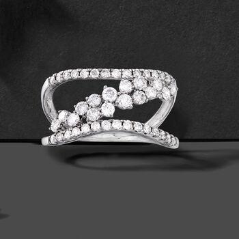 1.00 ct. t.w. Diamond Sideways-Row Ring in 14kt White Gold