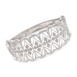 ".13 ct. t.w. Diamond Openwork Bangle Bracelet in Sterling Silver. 7.5"", , default"