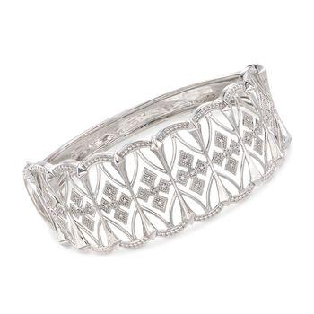 """.13 ct. t.w. Diamond Openwork Bangle Bracelet in Sterling Silver. 7.5"""", , default"""