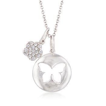 """Italian Sterling Silver Butterfly and Flower Charm Necklace With Crystals. 18"""", , default"""