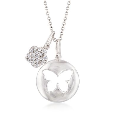 Italian Sterling Silver Butterfly and Flower Charm Necklace with Crystals, , default