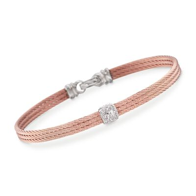 "ALOR ""Classique"" Diamond Station Rose Cable Bracelet with 18kt White Gold"