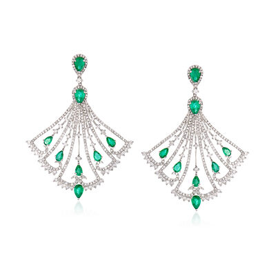 4.05 ct. t.w. Diamond and 3.90 ct. t.w. Emerald Chandelier Drop Earrings in 18kt White Gold, , default