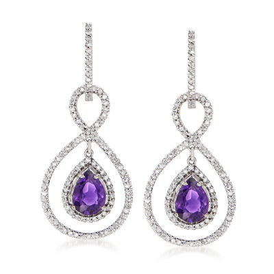 C. 1990 Vintage 2.20 ct. t.w. Amethyst and 1.05 ct. t.w. Diamond Drop Earrings in 14kt White Gold