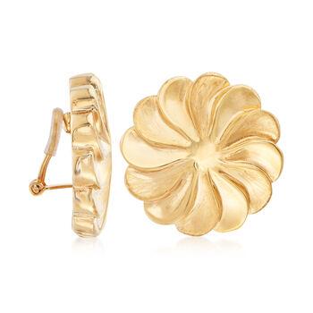 Italian 18kt Yellow Gold Pinwheel Clip-On Earrings, , default