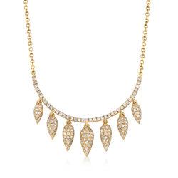 .59 ct. t.w. Diamond Multi-Teardrop Bib Necklace in 14kt Yellow Gold, , default