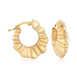 """Italian 14kt Yellow Gold Puffed Hoop Earrings. 3/4""""., , default"""