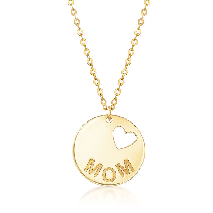 "Italian 14kt Yellow Gold ""Mom"" Necklace with Cut-Out Heart, , default"