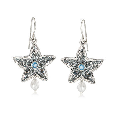 4.5-5mm Cultured Pearl and .10 ct. t.w. Sky Blue Topaz Starfish Drop Earrings in Sterling Silver, , default