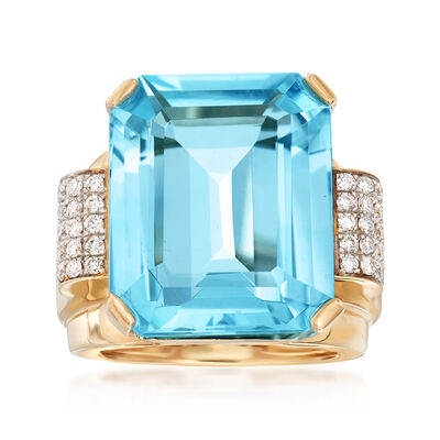 20.00 Carat Swiss Blue Topaz and .40 ct. t.w. Diamond Ring in 14kt Yellow Gold, , default