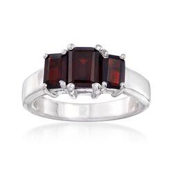 2.60 ct. t.w. Emerald-Cut Garnet Three-Stone Ring in Sterling Silver, , default