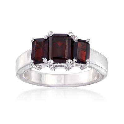 2.60 ct. t.w. Emerald-Cut Garnet Three-Stone Ring in Sterling Silver, , default