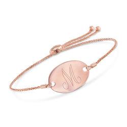 14kt Rose Gold Personalized Oval Bolo Bracelet, , default