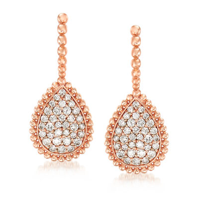 1.80 ct. t.w. Diamond Teardrop Earrings in 14kt Rose Gold