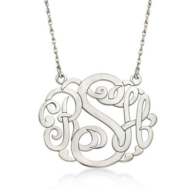Sterling Silver Large Open Script Monogram Necklace