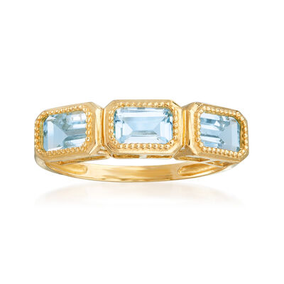 2.30 ct. t.w. Sky Blue Topaz Three-Stone Ring in 14kt Yellow Gold