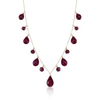 "34.15 ct. t.w. Ruby Drop Necklace in 14kt Yellow Gold. 18"", , default"